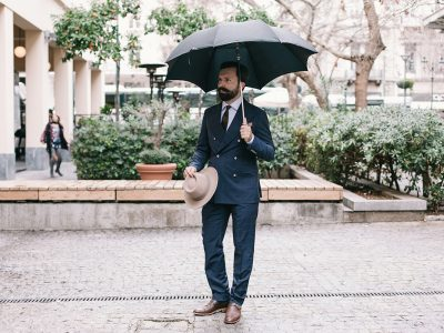 double breasted windowpane suit