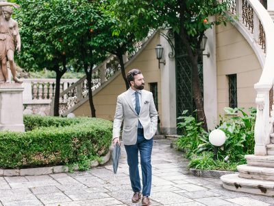 Grey linen jacket blue pants athens blogger men's style tips