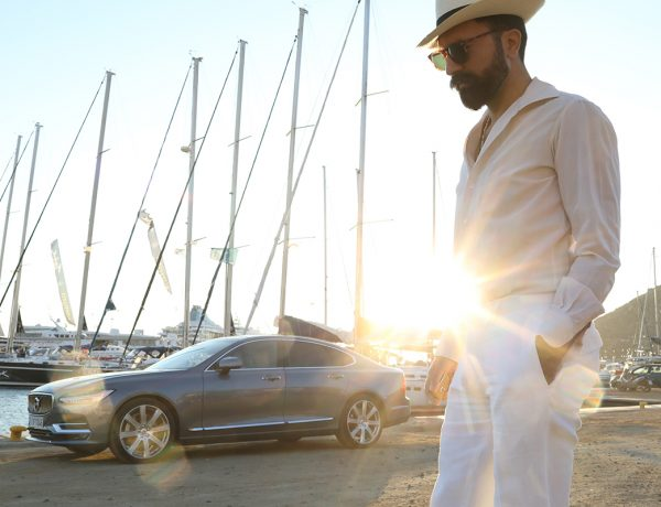 mykonos, volvo s90, panama hat, voile shirt, white pants, Μιχαήλ Ανδρουλιδάκης, Michail Androulidakis, It's a MAN's Class, Cyclades, Men's style