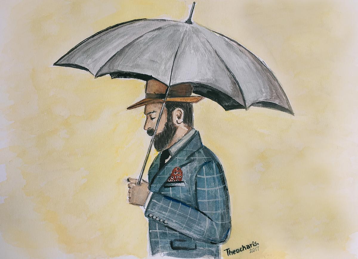 watercolor painting man umbrella