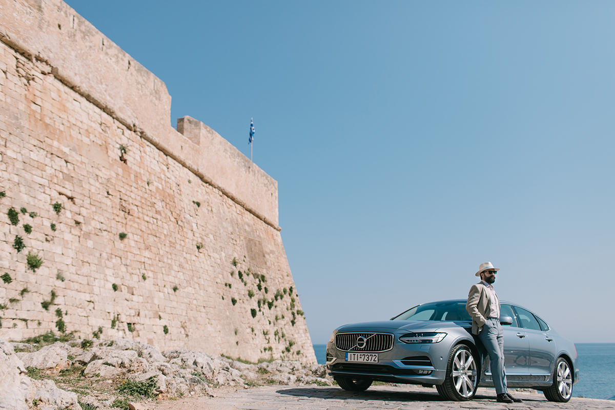beige linen jacket hat light blue pants volvo s90 rethymnon fortezza