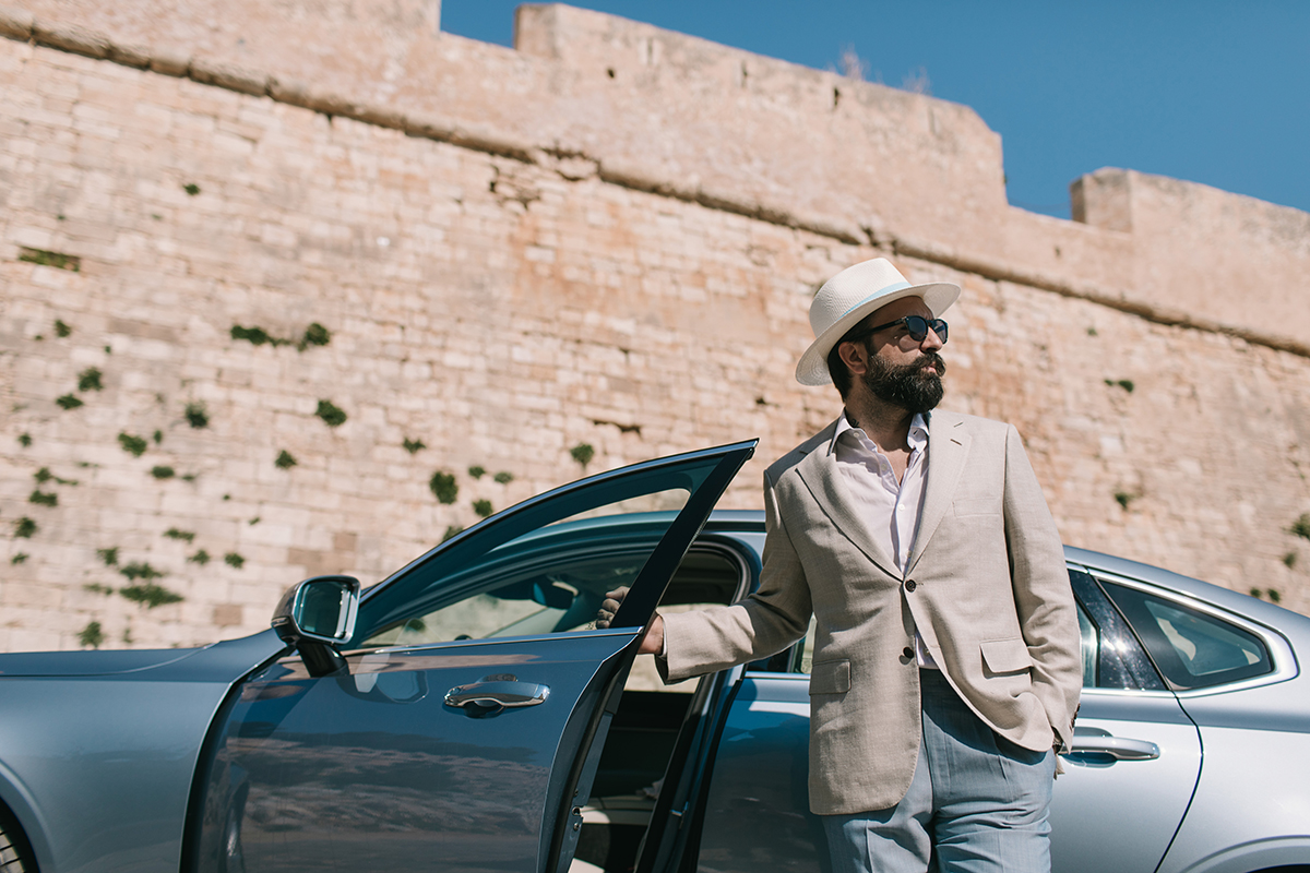 beige linen jacket hat light blue pants volvo s90 fortezza rethymnon