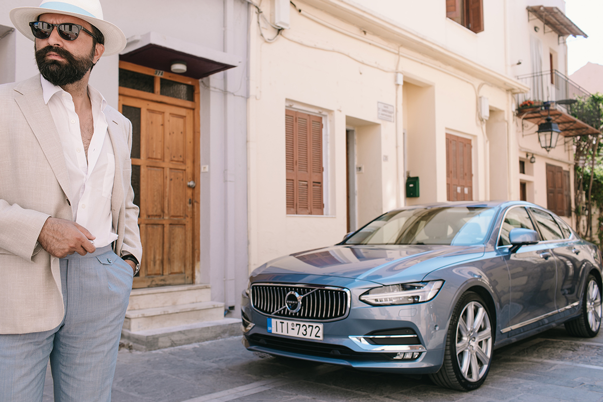 beige linen jacket hat light blue pants volvo s90 rethymnon old town