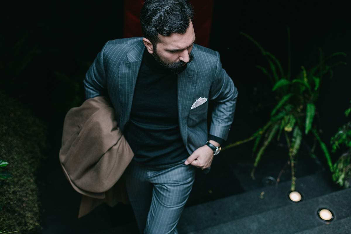 black turtleneck, grey pinstripe suit, sweater, men, man, Μιχαήλ Ανδρουλιδάκης, Michail Androulidakis, It's a MAN's Class, brown mon strap shoes, χειροποίητα παπούτσια, men's style, tips,