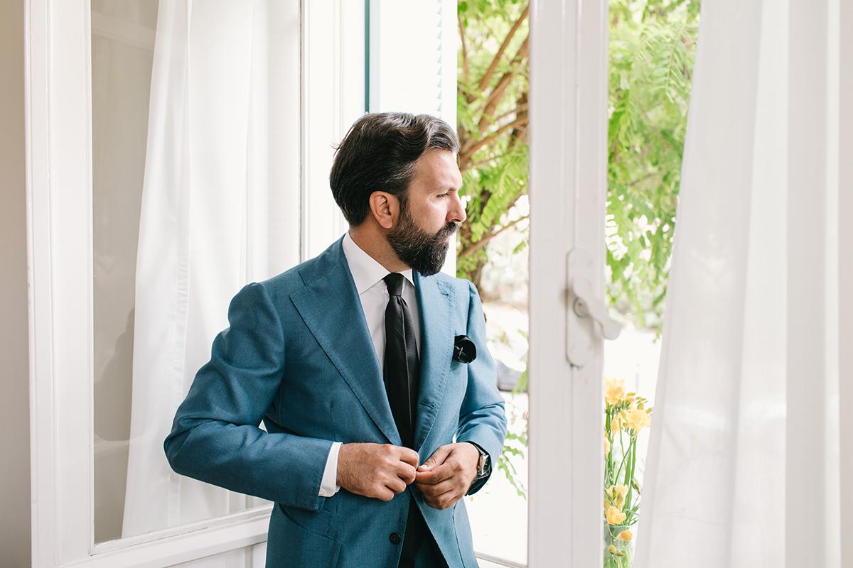 sciamat bespoke blue suit