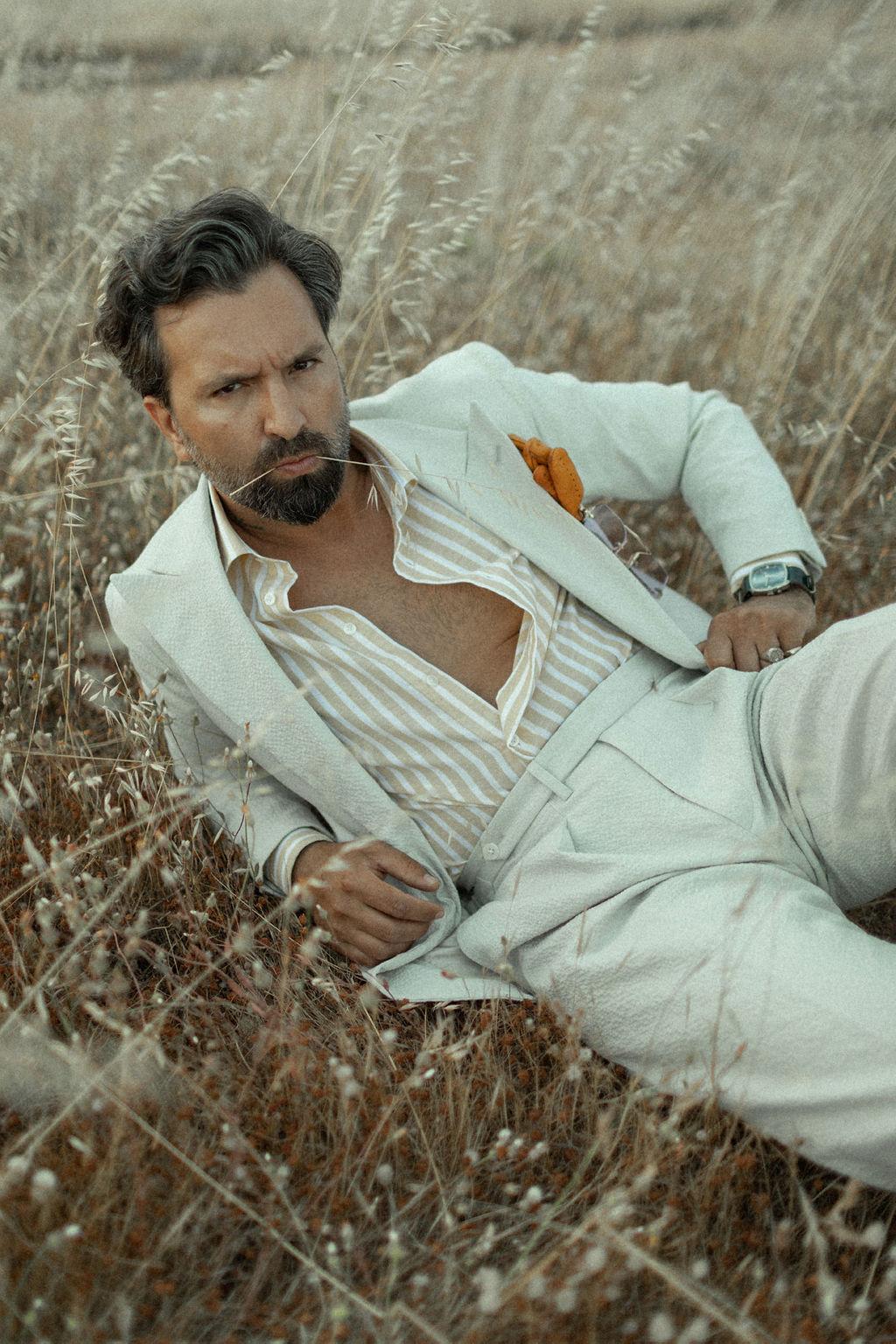 Seersucker beige suit